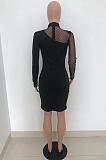 فستان مثير بأكمام طويلة شبكي أسود مرقع HT6067