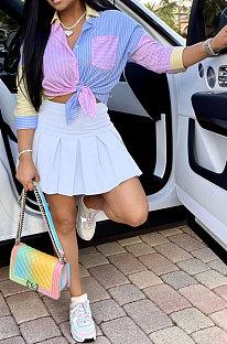 Women Shirt Tops Blue Plaid Skirts Sets HM5438