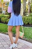 المرأة قميص قمم التنانير الزرقاء منقوشة مجموعات HM5438