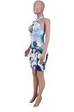 بلا أكمام طباعة خط العنق مثير فستان أزياء جوفاء الظهر AMX6027