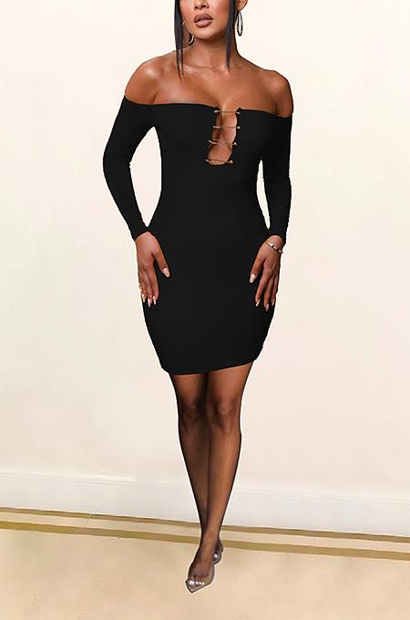 فستان مثير طويل الأكمام بكتف واحد ANK06022