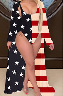 Flag Pattern Decolletage   two-piece swimsuit  CY1234