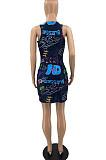 أزياء الصيف بلا أكمام رسالة طباعة فستان قصير SYY8039