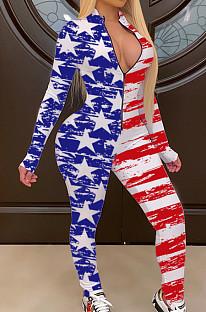 Long Sleeve Deep V Neck Flag Pattern Bodycon Jumpsuit SH7178