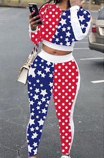 Euramerican Fashion Long Sleeve Long Pant Flag Pattren Sets YS202