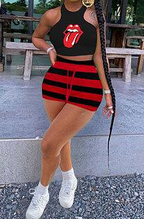 Fashion Stripe Waist Line Shorts Sets SMY8101