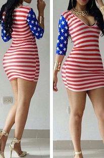 Sexy U Neck Half Sleeve Flag Pattern Mini Dress PT98007