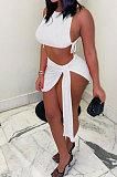 Pure Color Rib Bandage Skirts Sets NK251