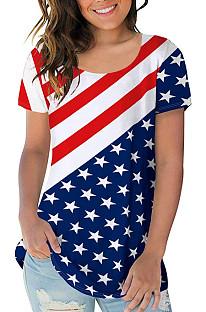 Short Sleeve Round Neck Flag Pattern T-shirt OMR9763