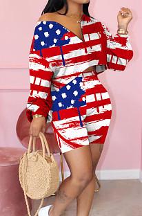 Long sleeve V-neck Flag pattern Cotton blend Two-piece Suit KK8198