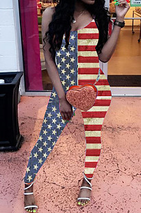 Euramerican Sexy Sling Flag Pattern Jumpsuits YW0659