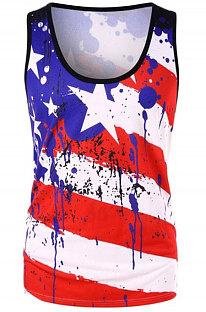 Sleeveless U Neck Flag Pattern T Shirts SDD9269