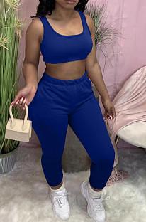 Euramerican Pure Color Vest Long Pants Sports Sets YM182
