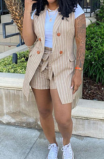 Euramerican Stripe OL Small Suit Coat Shorts Two-Piece Contain The Belt YM192