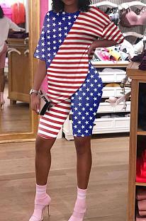 Short Sleeve Round Neck Flag Pattern Short Shorts Two-piece Suit HHM6319