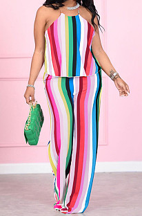 Fashion Classic Halter Neck Stripe Casual The Home Two-Piece YM193