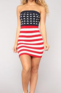 Fashion Sexy  Flag Pattern Toob Bube Top Dress R6080