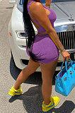 Women Yoga Pure Color Backless U Neck Tank Tops Shorts Jumpsuit 2 Sets MLM9071