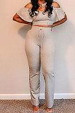 مجموعات السراويل العصرية عارضة اللون النقي قبالة الكتف مضيئة الساق YM199