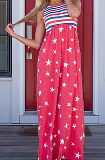 Sleeveless  Flag Pattern Elastic waist band  long dress CM212