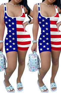 Sleeveless Round  Collar  Flag pattern Tight jumpsuits AFY742