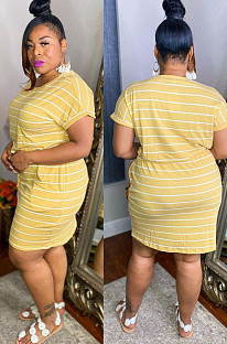 Fashion Big Yards Stripe Print Darwshing Bind Dress YT3279