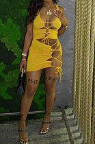 Women Sexy Drawsting Hollow Out Pit Bar Mini Dress HYM8064