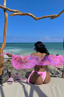 Trendy Sandbeach Ventilate Loose Suntan Prevention Colorful Mantle Blouse FFE146
