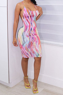 Colorful Printing Condole Belt Backless Mini Dress AD0601