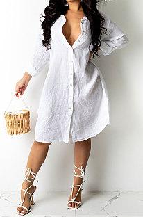 فستان كارديجان نسائي فضفاض بلون نقي من Euramerican AWL5887