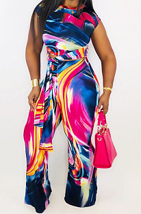 Fashion Casual Tie Dye Printing Short Sleeve Long Pants Two Piece WJ5041
