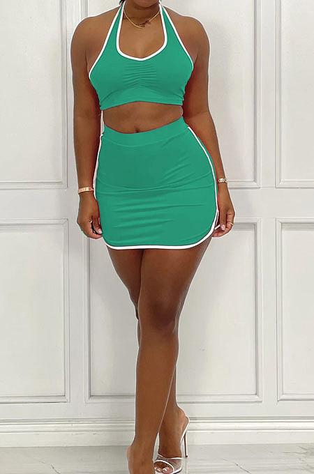 Green Women Sleeveless Halter Neck Ruffle Sport Skirts Sets AMM8361-5