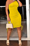 Yellow Casual Ruffle Drawsting Off Shoulder Sleeveless CultivateOne's Morality Mini Dress AMM8362-2