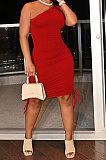 Red Casual Ruffle Drawsting Off Shoulder Sleeveless CultivateOne's Morality Mini Dress AMM8362-3