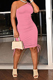 Pink Casual Ruffle Drawsting Off Shoulder Sleeveless CultivateOne's Morality Mini Dress AMM8362-1