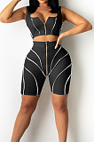 Black Euramerican Fashion Spilced Vest Shorts Sports Casual Sets CM2141-3