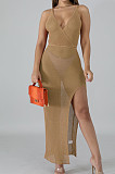 Night Club Stretch Net Yarn Fashion Long Dress SMR10105