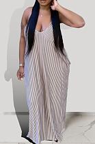 Brown Euramerican Summer Loose Stripe Sling Long Dress BSY108-1