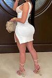 Trendy Sleeveless U Neck Back Zipper Skirts Double Zipper Sexy Mini Dress AYM5026