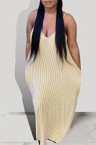 Beige Euramerican Summer Loose Stripe Sling Long Dress BSY108-3