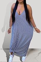 Blue Euramerican Summer Loose Stripe Sling Long Dress BSY108-2