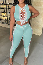 Light Blue Contrast Color Pit Bar Spliced Net Yarn Bind Hollow Out Casual Sets CM2140-3