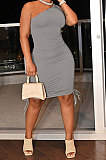 Gray Casual Ruffle Drawsting Off Shoulder Sleeveless CultivateOne's Morality Mini Dress AMM8362-4