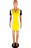 Euramerican Women Lapel Neco Zipper Spliced Casual Dress YMT6030