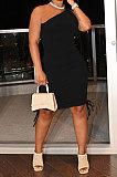 Black Casual Ruffle Drawsting Off Shoulder Sleeveless CultivateOne's Morality Mini Dress AMM8362-5