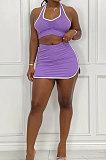 Purple Women Sleeveless Halter Neck Ruffle Sport Skirts Sets AMM8361-2