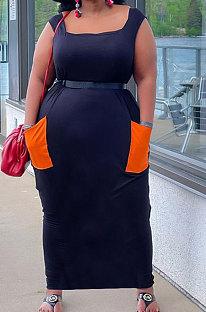 Black Women Sleeveless Spliced Pocket Plus Long Dress KKY80046-3