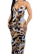 Leopard Condole Belt V Neck Sleeveless Fashion Sexy Long Dress DY6969-5