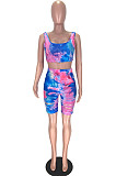 Blue Fashion Casual Tie Dye Hurnt Flower Vest Shorts Two Piece LL6330-2