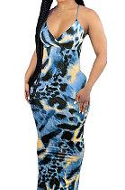 Blue Condole Belt V Neck Sleeveless Fashion Sexy Long Dress DY6969-4